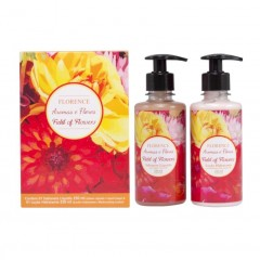 KIT FIELD OF FLOWERS LOÇAO HIDRANTATE + SABONETE LIQUIDO FLORENCE 250ML CADA