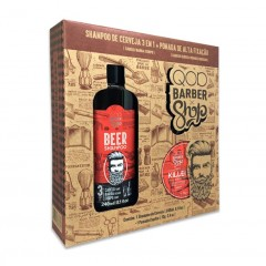 KIT BEER SHAMPOO DE CERVEJA 3 EM 1 240ML + POMADA CAPILAR KILLER 70G QOD BARBER SHOP