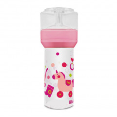 MAMADEIRA SUPER SILICONE DIVERTIDA ROSA LILLO 260ML