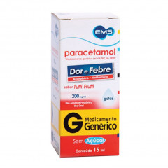 PARACETAMOL 200MG/ML SOLUÇAO ORAL 15ML - EMS GENERICO