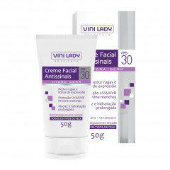 CREME FACIAL ANTISSINAIS FPS 30 HYDRA DERM VINI LADY 50G