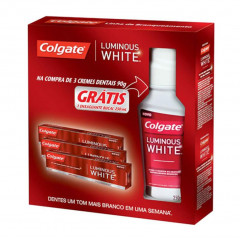 CREME DENTAL LUMINOUS WHITE COLGATE 3U 90G GRATIS ENXAGUANTE BUCAL LUMINOUS WHITE COLGATE  250ML